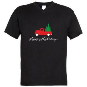 Męska koszulka V-neck Happy Holidays!