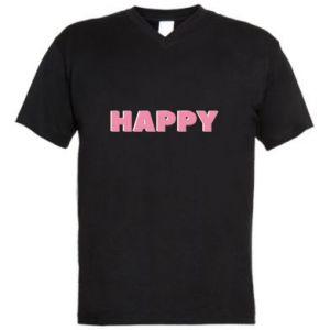 Męska koszulka V-neck Happy inscription