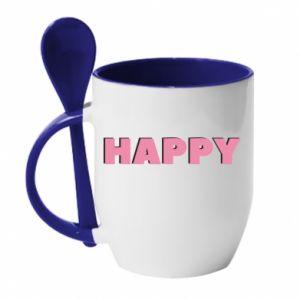 Kubek z ceramiczną łyżeczką Happy inscription