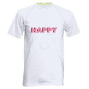 Męska koszulka sportowa Happy inscription