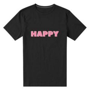 Męska premium koszulka Happy inscription