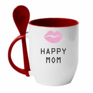 Kubek z ceramiczną łyżeczką Happy mom - PrintSalon
