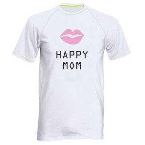 Męska koszulka sportowa Happy mom - PrintSalon