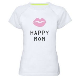 Damska koszulka sportowa Happy mom - PrintSalon