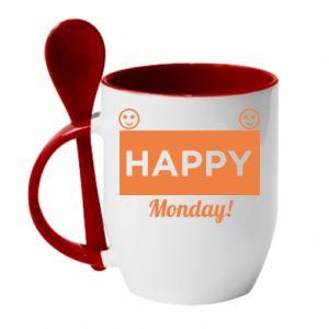 Kubek z ceramiczną łyżeczką Happy Monday