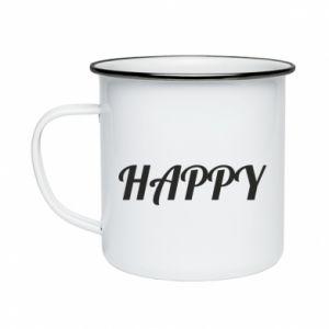 Kubek emaliowane Happy, napis