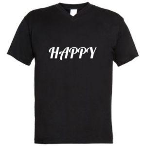 Męska koszulka V-neck Happy, napis
