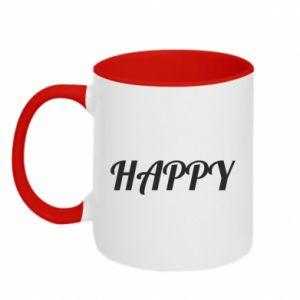 Kubek dwukolorowy Happy, napis