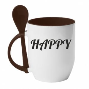 Kubek z ceramiczną łyżeczką Happy, napis