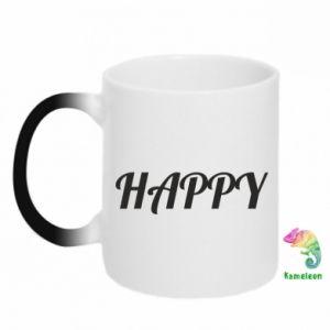 Kubek-kameleon Happy, napis