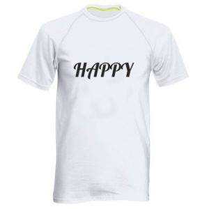 Męska koszulka sportowa Happy, napis
