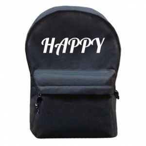 Backpack with front pocket Happy, inscription