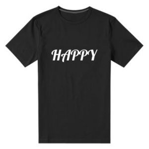 Męska premium koszulka Happy, napis