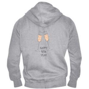 Men's zip up hoodie Happy New Year