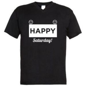 Męska koszulka V-neck Happy Saturday