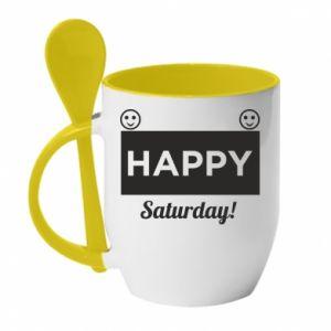 Kubek z ceramiczną łyżeczką Happy Saturday