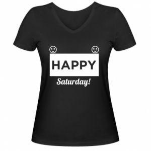 Damska koszulka V-neck Happy Saturday