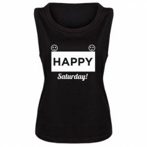 Damska koszulka bez rękawów Happy Saturday