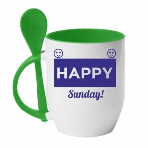 Kubek z ceramiczną łyżeczką Happy Sunday