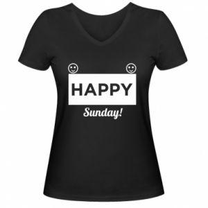 Damska koszulka V-neck Happy Sunday