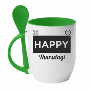 Kubek z ceramiczną łyżeczką Happy Thursday