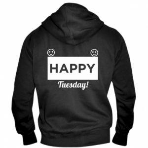 Męska bluza z kapturem na zamek Happy Tuesday