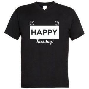 Męska koszulka V-neck Happy Tuesday