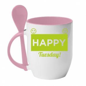 Kubek z ceramiczną łyżeczką Happy Tuesday