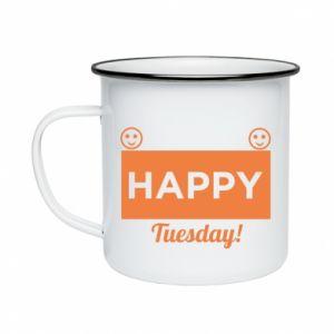 Kubek emaliowane Happy Tuesday