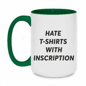 Kubek dwukolorowy 450ml HATE  T-SHIRTS  WITH INSCRIPTION