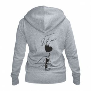 Women's zip up hoodies Heart and lighter - PrintSalon