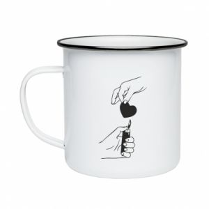 Enameled mug Heart and lighter - PrintSalon