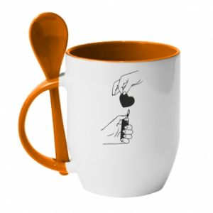 Mug with ceramic spoon Heart and lighter - PrintSalon