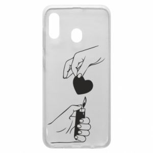 Phone case for Samsung A20 Heart and lighter - PrintSalon