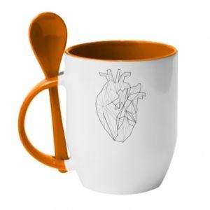 Kubek z ceramiczną łyżeczką Heart line