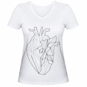 Damska koszulka V-neck Heart line