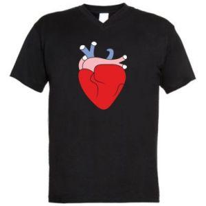 Men's V-neck t-shirt Heart with vessels - PrintSalon