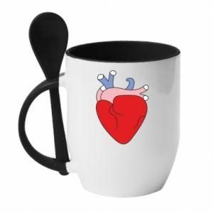 Mug with ceramic spoon Heart with vessels - PrintSalon