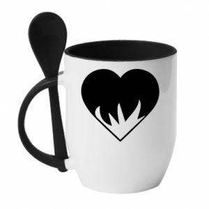 Kubek z ceramiczną łyżeczką Heartburning