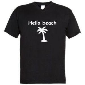 Męska koszulka V-neck Hello beach