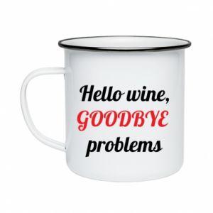 Kubek emaliowane Hello wine, GOODBYE  problems