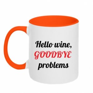 Kubek dwukolorowy Hello wine, GOODBYE  problems