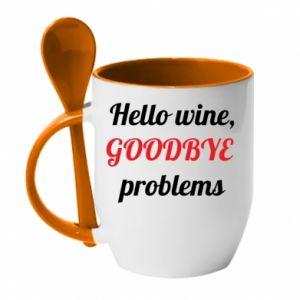 Kubek z ceramiczną łyżeczką Hello wine, GOODBYE  problems