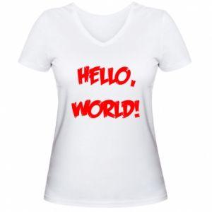 Women's V-neck t-shirt Hello, world! - PrintSalon