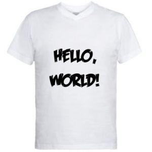 Męska koszulka V-neck Hello, world!