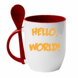 Mug with ceramic spoon Hello, world! - PrintSalon