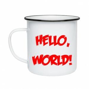 Enameled mug Hello, world! - PrintSalon