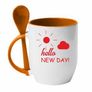 Kubek z ceramiczną łyżeczką Hello. New day!