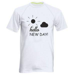 Męska koszulka sportowa Hello. New day!