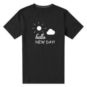 Męska premium koszulka Hello. New day!